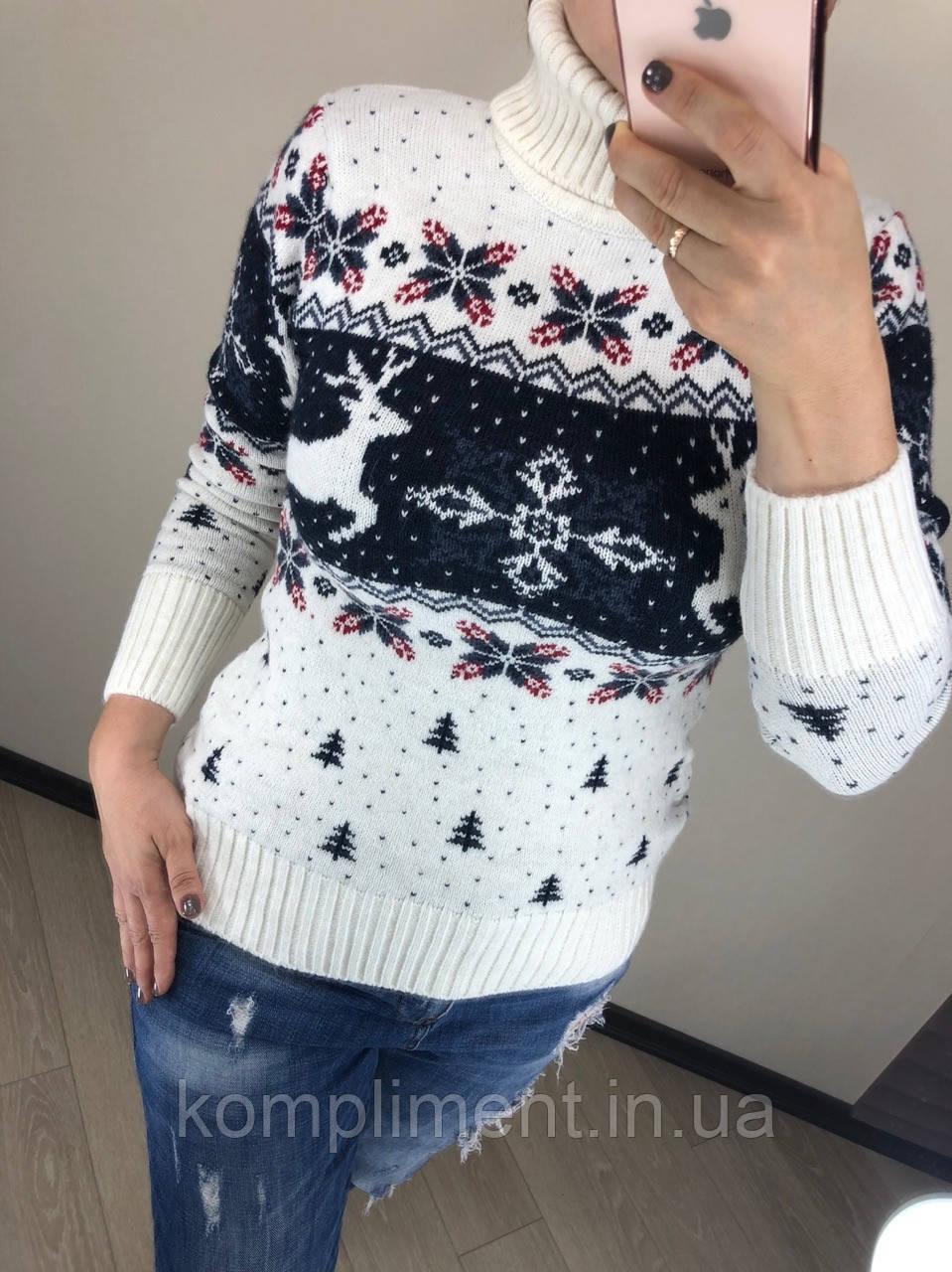 Шерстяной турецкий вязаный свитер под горло с рисунком елочки, белый