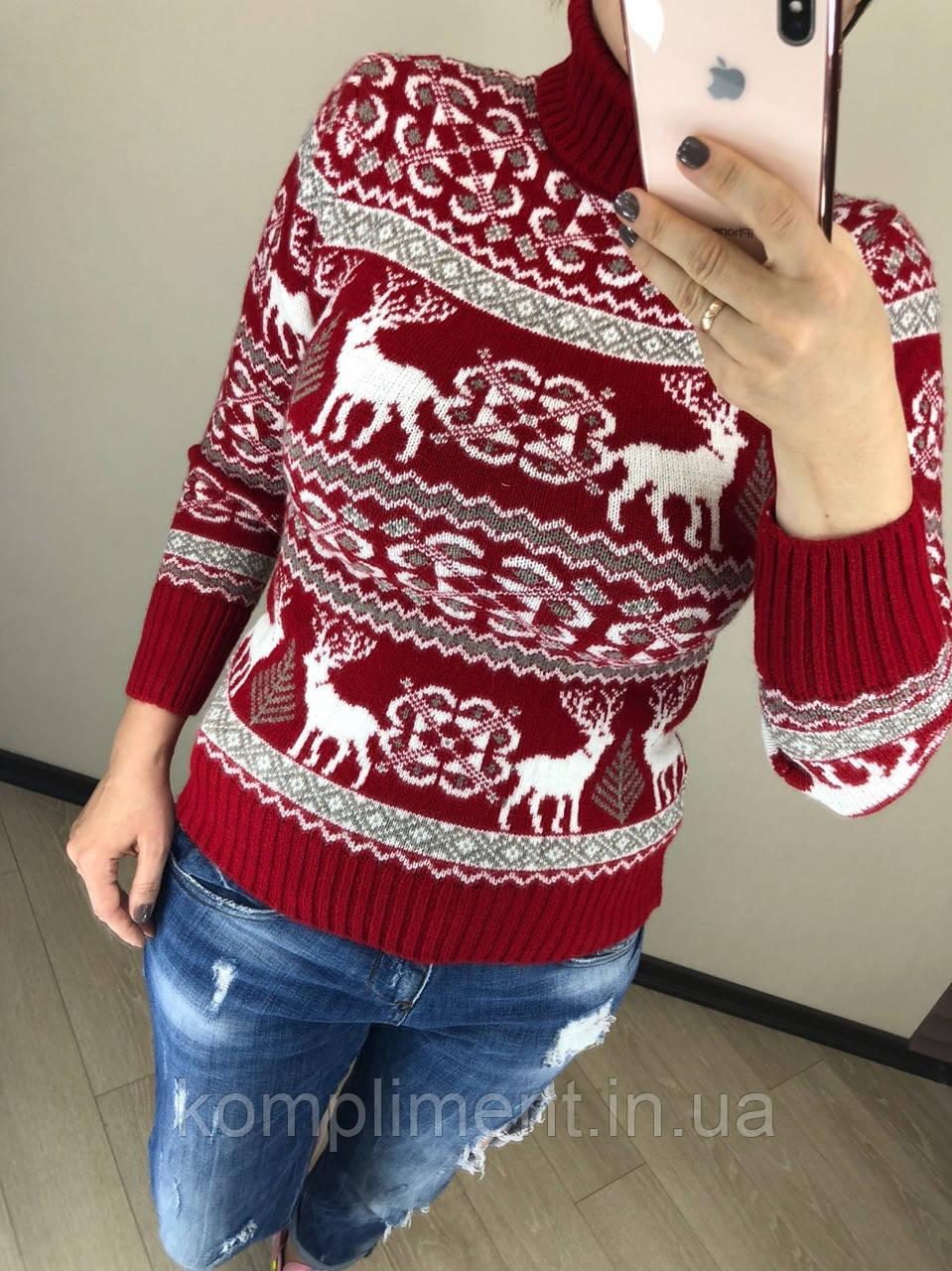 Шерстяной зимний турецкий свитер с рисунком, красный