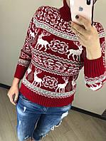 Шерстяной зимний турецкий свитер с рисунком, красный, фото 1