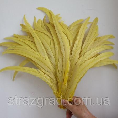 Перья петуха. Декоративное перо Желтое 22-30см