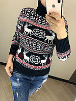 Шерстяной зимний турецкий свитер с рисунком, синий, фото 1