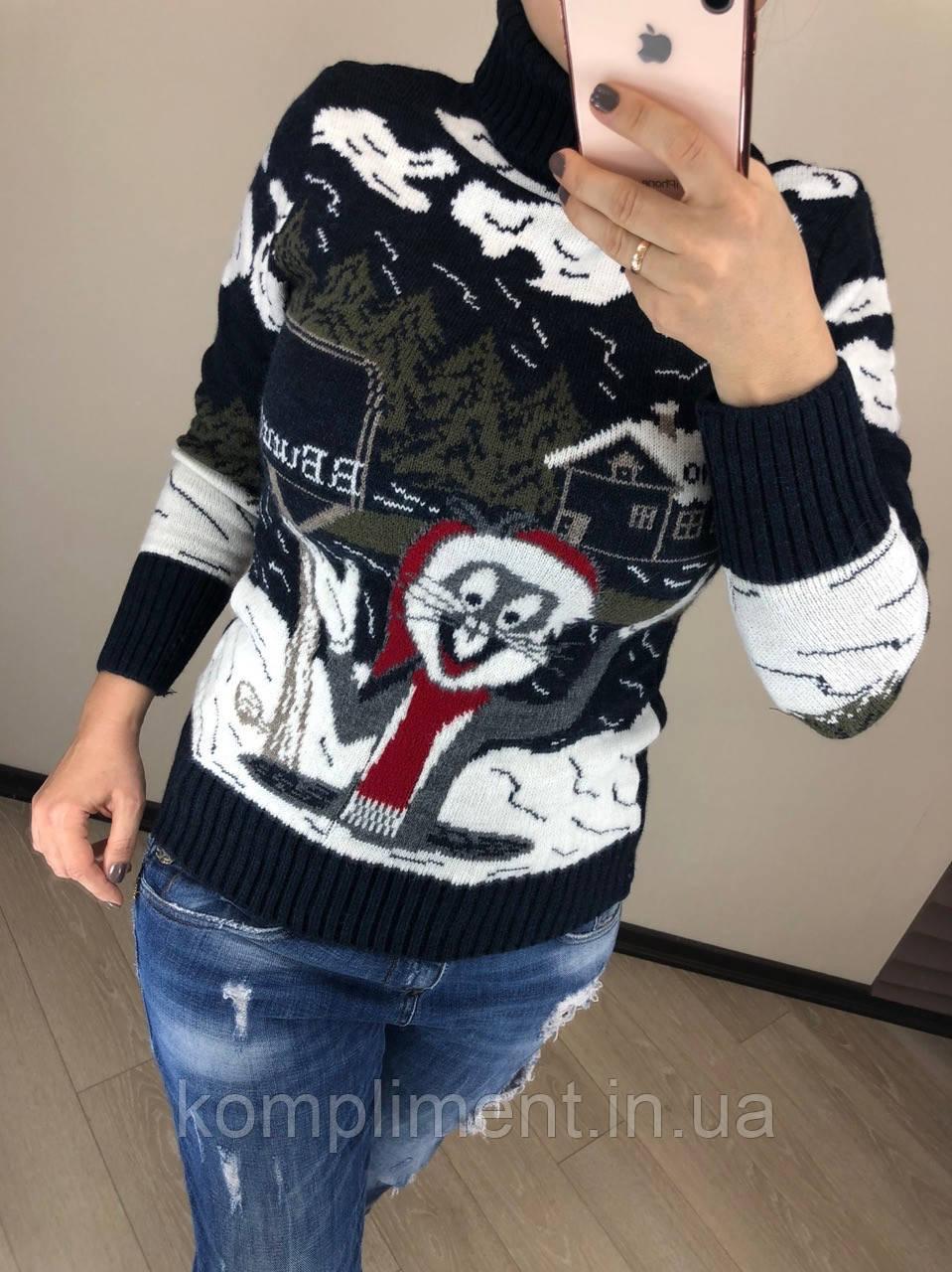 Шерстяной вязаный  турецкий свитер с рисунком кролик, синий