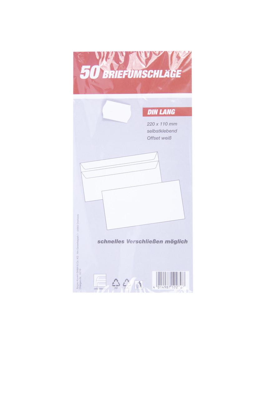 Конверты почтовые DIN LANG 220x110mm 50 шт.