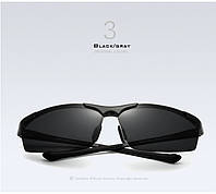 Очки мужские солнцезащитные поляризованные VEITHDIA. Черные линзы, черныедужки и оправа