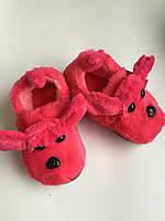"""Тапочки детские """"Собачки с ушками"""" цвет малиновый"""