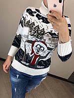 Шерстяной вязаный  турецкий свитер с рисунком кролик, белый, фото 1