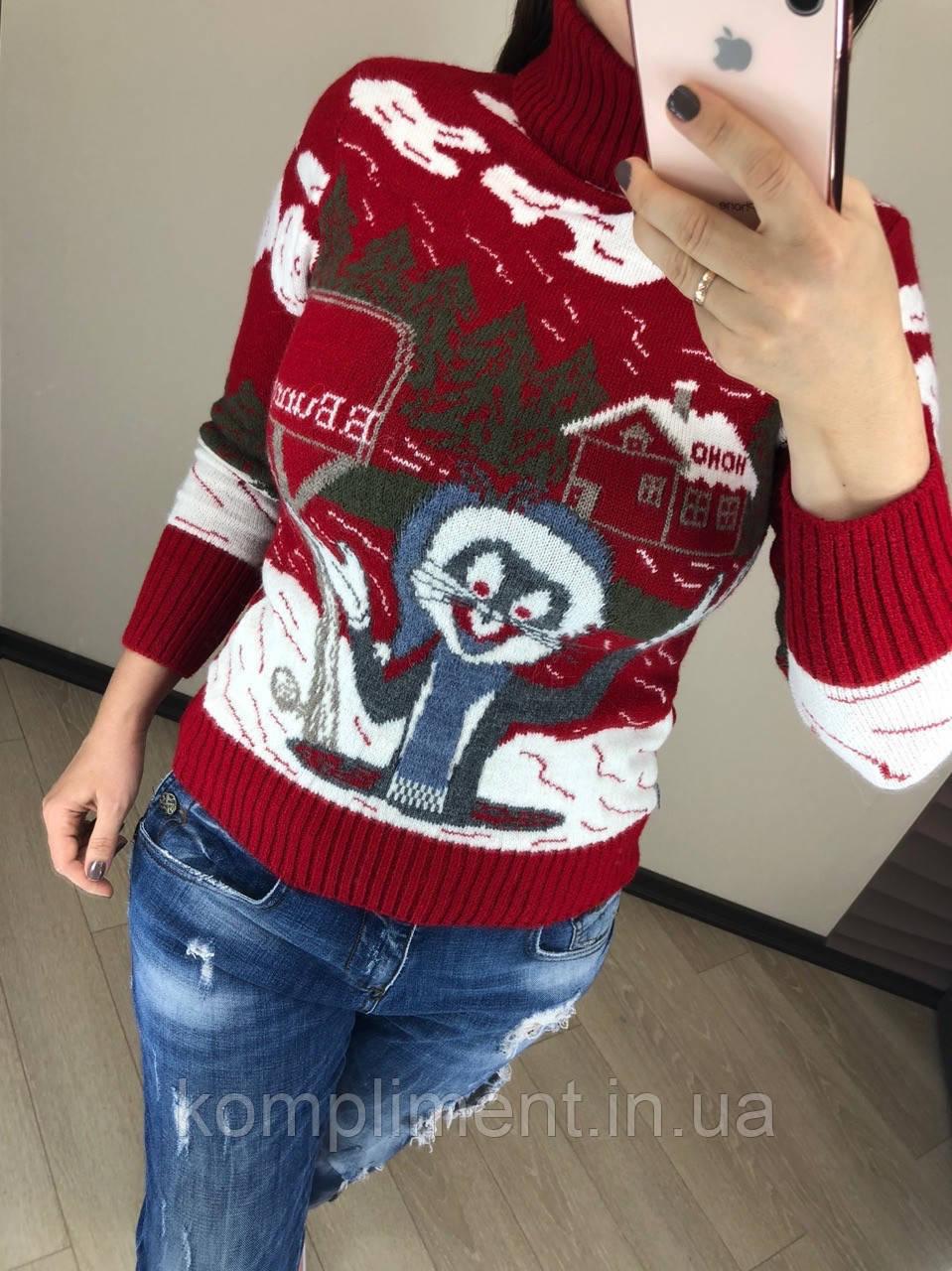 Шерстяной вязаный  турецкий свитер с рисунком кролик, красный