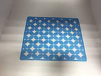 Коврик силиконовый для кухонной раковины Лепестки 25х29,5 см / голубой