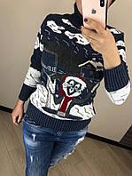 Шерстяной вязаный  турецкий свитер с рисунком кролик, индиго, фото 1