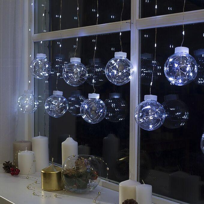 """Гирлянда """"Бахрома"""", роса """"Шарики"""" 2.5 х 0.7 м, LED-150-12V, фиксинг свечение белое"""