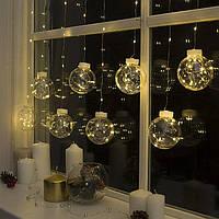 """Гирлянда """"Бахрома"""", роса """"Шарики"""" 2.5 х 0.7 м, LED-150-12V, фиксинг свечение тепло белое, фото 1"""
