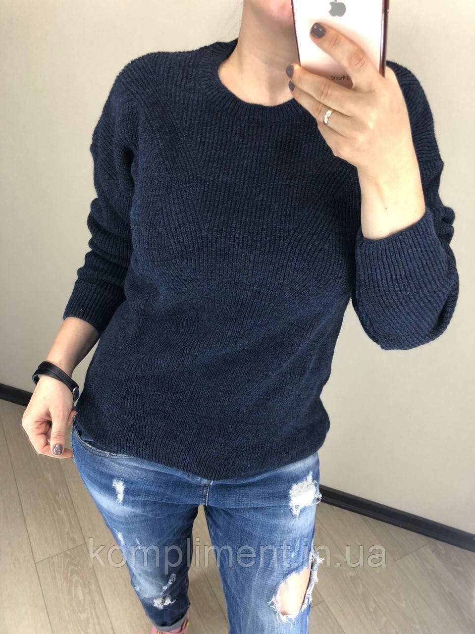 Шерстяной вязаный турецкий свитер без горла Luxury,синий