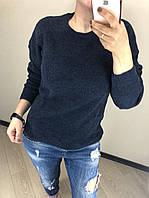 В'язаний шерстяний турецький светр без горла Luxury,синій, фото 1