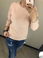 В'язаний шерстяний турецький светр без горла Luxury,пудра, фото 1