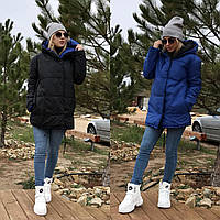 ДВУСТОРОННЯЯ тёплая женская длинная куртка зефирка чёрная с синим S-M M-L