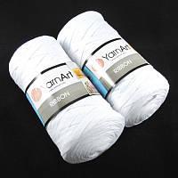 Турецкая пряжа для вязания YarnArt Ribbon ( риббон ) для сумок, ковриков , корзин - 751 белый