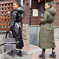 Зимнее женское пальто. Двухстороннее женское зимнее пальто на кнопках под пояс. Зимняя женская одежда