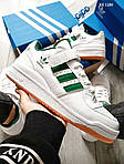 Чоловічі кросівки Adidas Forum Mid (біло/зелені), фото 2