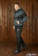 Тёплый зимний спортивный мужской костюм NIKE штаны куртка на овчине и синтепоне чёрный с графит 46 48 50 52 54, фото 1
