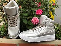 Зимние женские ботинки серебро маломерят 36 37 38 39