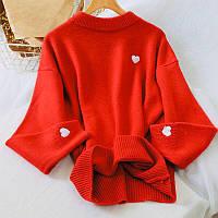 Мягкий свитер женский стильный с вышивкой сердце, фото 1