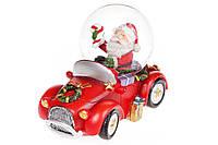 Декоративный водяной шар Санта на машине