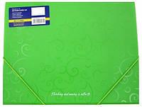 Папка на резинке А4 пластиковая, зеленая.