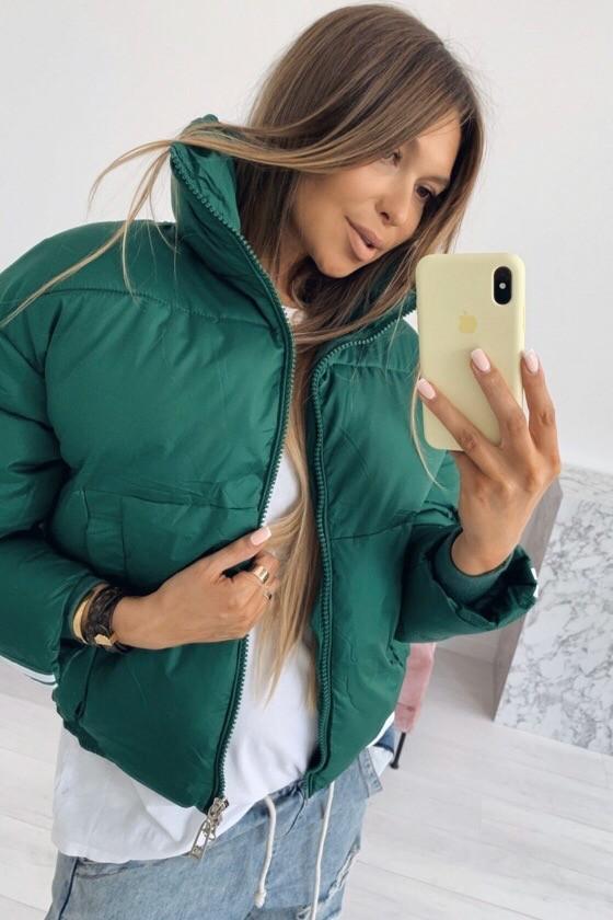 Куртка женская, теплая, плащевка на синтепоне 300, высокий воротник, на молнии, молодежная, стильная, фото 1