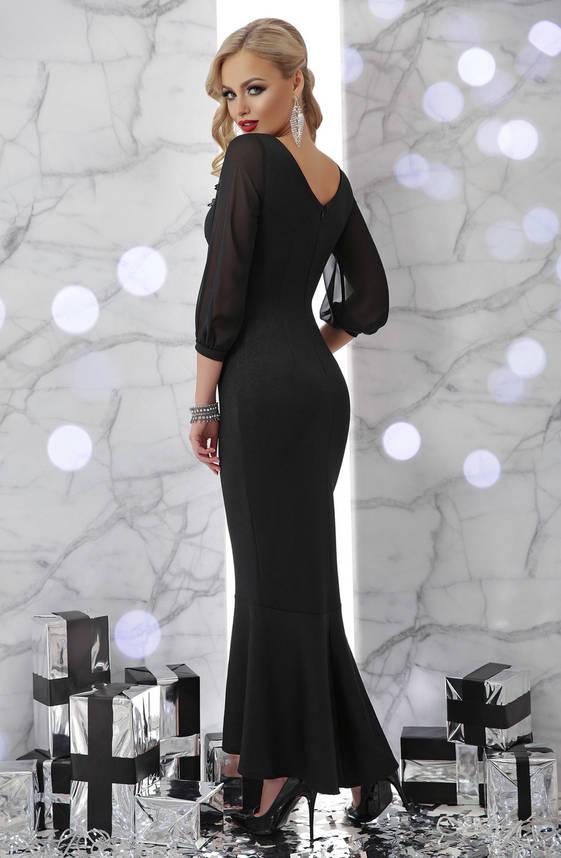 Вечернее облегающее платье в пол черное, фото 2