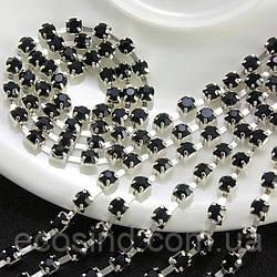 (7 метров) Стразовая цепь SS8 (ширина 2,5мм) Цвет оправы - серебро, цвет камней - чёрный (сп7нг-2422)