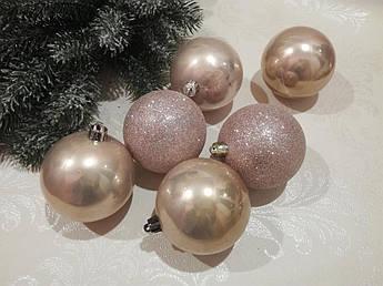 Новогодние елочные шары пудра, 8 см. 6 шт