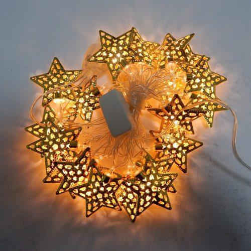 Гирлянда Золотая Звезда, 20 led, размер фигурки: 6.6x6.6, золото, прозрачный провод, 2,1м.