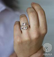 Серебряное кольцо веточка в стиле минимализм