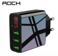 Адаптер питания ROCK, 3A, black (USB зарядка, 3 порта, дисплей), фото 1