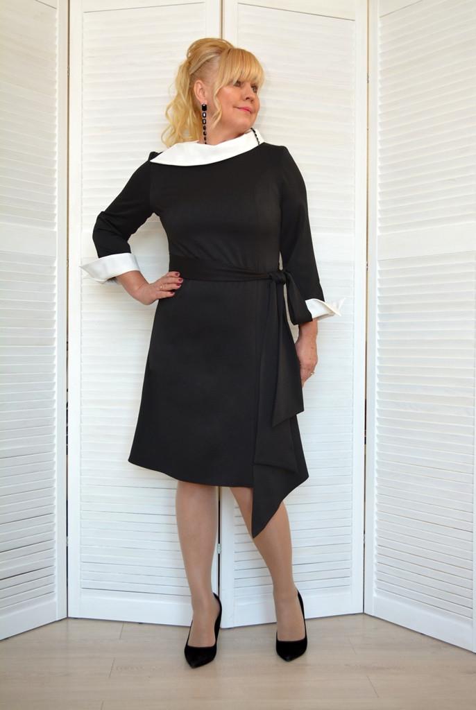 Платье черное с белым воротником - Модель 1810