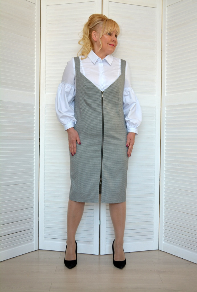Блуза белая рукав фонарик - Модель 1814
