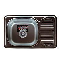 Врезная кухонная мойка Platinum 66*42 (мм) в покрытии Decor (структурная), с толщиной 0,8 (мм)
