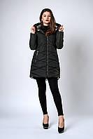 Модная черная зимняя куртка с капюшоном размеры 42