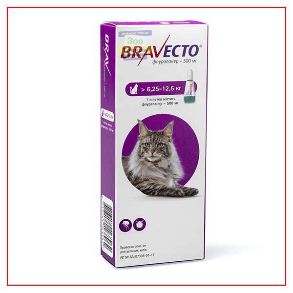 Капли Bravecto 6,25-12,5 кг Spot-On (Бравекто Спот-Он) от блох и клещей для Кошек