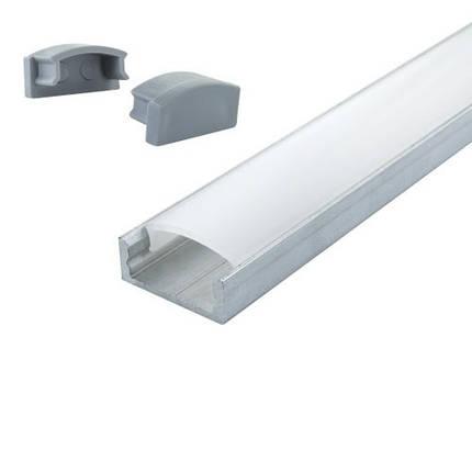 Комплект. Профиль для светодиодной ленты накладной 7х16 мм. ЛП7. Матовый. Неанодированный., фото 2