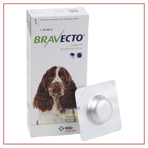 Таблетки Bravecto 10-20 кг (Бравекто) от блох и клещей для Собак