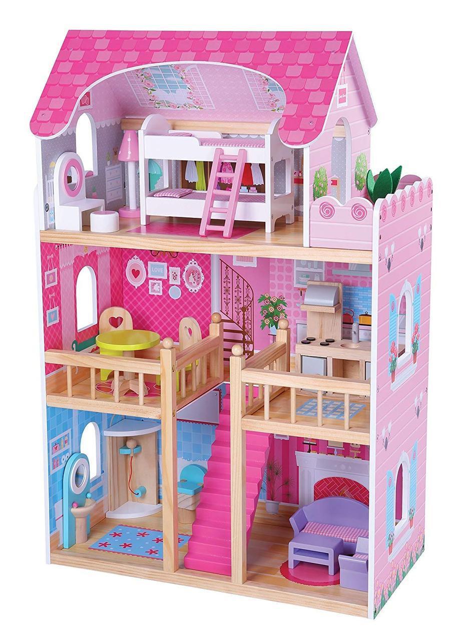 Домик 1039 для кукол деревянный с мебелью (90 х 59 х 33 см)