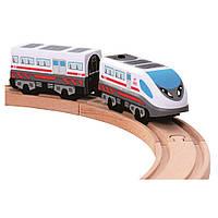 Поезд на батарейках для деревянной железной дороги локомотив паровоз экспресс Bino