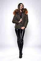 Короткая женская зимняя куртка хаки с мехом размеры 42,44,46