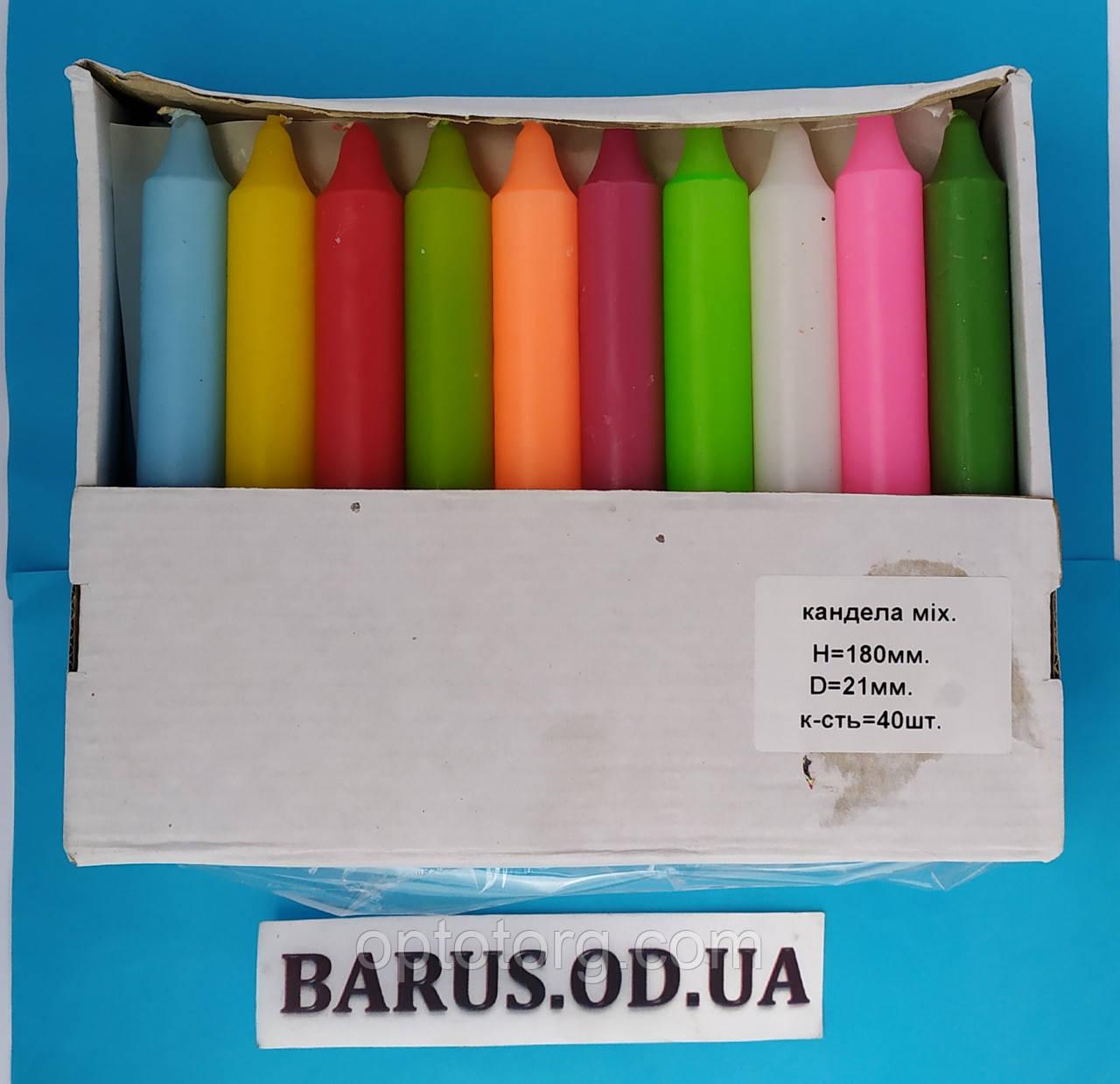 Свечи декоративные столовые цветные 40 штук