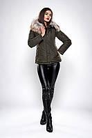 Зимняя женская куртка парка хаки размеры 42,44,46