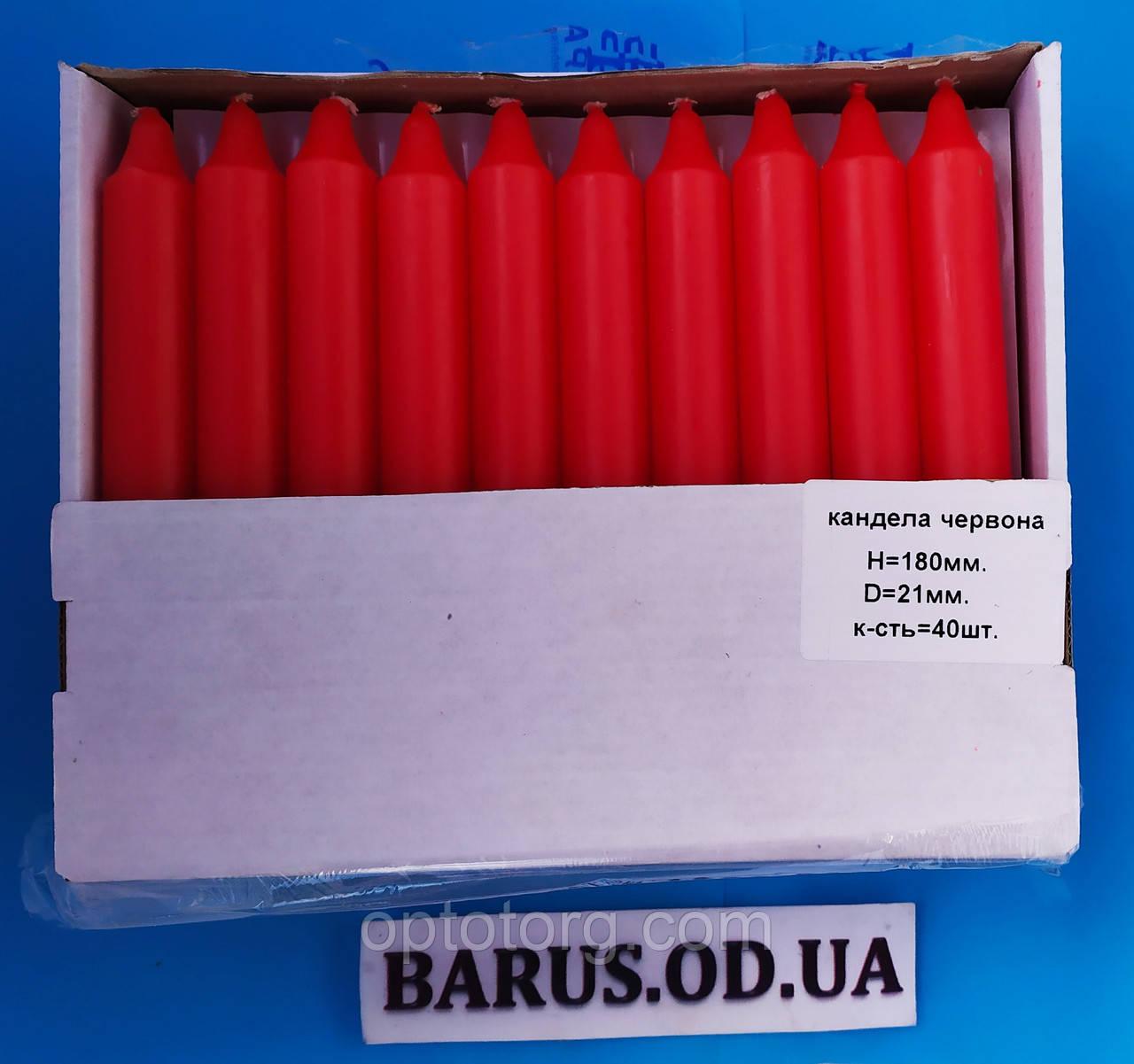Свечи декоративные столовые красные 40 штук