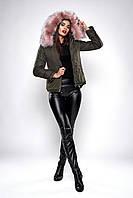 Зимняя женская короткая куртка парка с капюшоном размеры 42,44,46