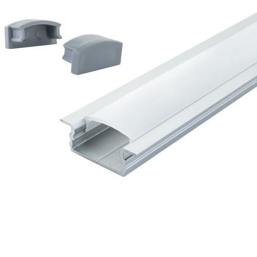 Комплект. Профиль для светодиодной ленты врезной 7х16 мм. ЛПВ7. Матовый. Неанодированный.