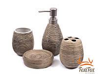 Набор для ванной дозатор мыльница 2 стакана Wood Style